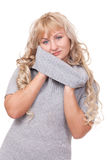 Pretty blond winter sweater woman Royalty Free Stock Photo