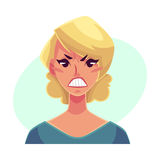 Pretty blond woman, angry facial expression Royalty Free Stock Photos