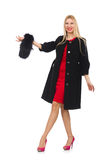 The pretty blond woman in black coat isolated on white. Pretty blond woman in black coat isolated on white Royalty Free Stock Photos