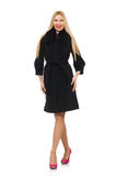 The pretty blond woman in black coat isolated on white Royalty Free Stock Images