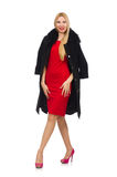 The pretty blond woman in black coat isolated on white Royalty Free Stock Photography