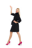 The pretty blond woman in black coat isolated on white Royalty Free Stock Photos