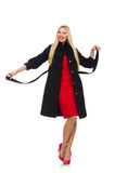 The pretty blond woman in black coat isolated on white Royalty Free Stock Photo