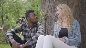 Portrait confidient pretty blond woman and handsome African American man talking sitting under an old tree in the park. Pretty blond woman and handsome African stock video footage