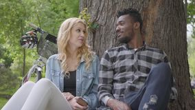 Portrait confidient pretty blond woman and handsome African American man talking sitting under an old tree in the park. Pretty blond woman and handsome African stock footage