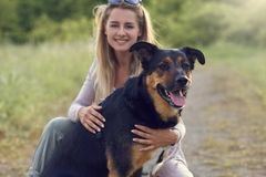 Pretty blond woman with her two dogs crouching. With an arm around each at the side of a rural road with long spring grass and focus to a large brown and tan royalty free stock photo