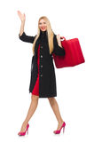 The pretty blond woman holding suitcase isolated on white Royalty Free Stock Photo