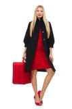 The pretty blond woman holding suitcase isolated on white Royalty Free Stock Image