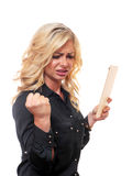 Pretty blond woman is mad. Stock Photo