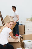 Pretty blond woman packing up the house Stock Image
