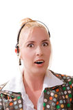 Pretty blond woman in shock Stock Photography