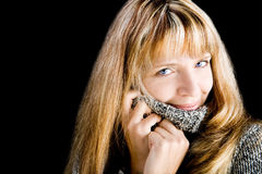A pretty blond woman smiling Royalty Free Stock Image