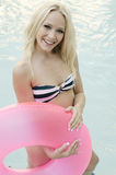 Pretty blond woman in swimming pool Stock Photo