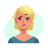 Pretty blond woman, upset, confused facial expression Stock Images
