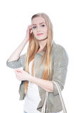Pretty Blond Woman Wearing Gray Blazer Royalty Free Stock Images