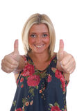 Pretty blond women thumbs up Stock Photos