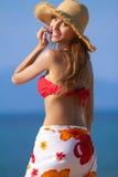 Pretty blonde with attitude in a bikini Stock Image