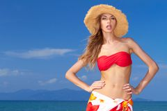 Pretty blonde with attitude in a bikini Royalty Free Stock Images