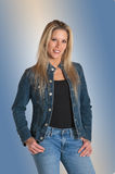 Pretty Blonde in Blue Jeans Stock Image