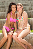 Pretty blonde and brunette young women Royalty Free Stock Photography