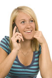 Pretty Blonde on Cell Phone Revised Stock Photo