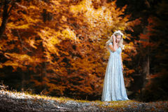 Pretty blonde fairy lady with white dress royalty free stock image