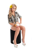 Pretty blonde female posing in shorts and shirt Royalty Free Stock Photos