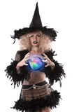 Pretty blonde girl dressed up as a halloween witch Royalty Free Stock Photography