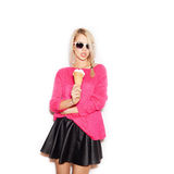 Pretty blonde girl  eating ice cream Royalty Free Stock Images