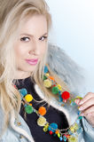 Pretty blonde girl eith cool trendy necklace Stock Photography