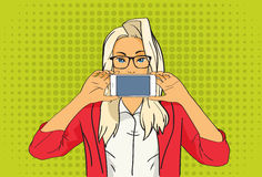 Pretty Blonde Girl Hold Cell Smart Phone Pop Art Colorful Retro Style Royalty Free Stock Image