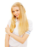 Pretty blonde girl over white background Royalty Free Stock Photos