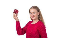 Pretty blonde girl with red apple in her hand, white background. Pretty blonde girl with red apple in her hand, white background Royalty Free Stock Photography