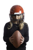 Pretty Blonde Girl Red Helmet Holding Football Isolated Background Stock Image