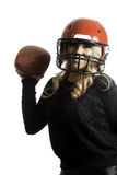Pretty Blonde Girl Red Helmet Throwing Football Isolated Background Royalty Free Stock Photo