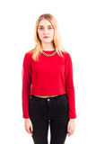 Pretty blonde girl in red isolated Stock Photo