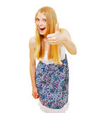 Pretty blonde girl showing thumb up Royalty Free Stock Photos