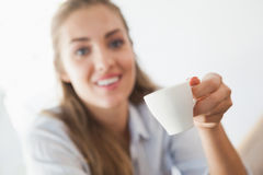 Pretty blonde having a coffee Stock Photos