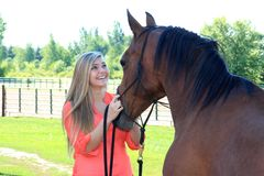 Pretty Blonde High School Senior Girl Outdoor with Horse. Pretty, long blonde hair, blue eyes, High School Senior girl outdoor equine portrait with Arabian Horse Royalty Free Stock Photo