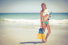 Pretty blonde holding a scuba diving gear Stock Image