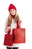 Pretty blonde holding shopping bags Royalty Free Stock Photography