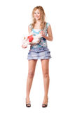 Pretty blonde holding teddy bear Stock Photography