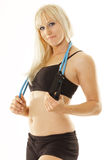 Pretty blonde with jumprope Stock Image
