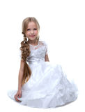 Pretty blonde kid portrait in white dress isolated Stock Photo