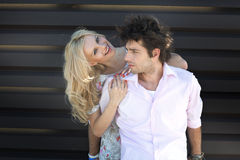 Pretty blonde lady with her boyfriend Royalty Free Stock Photography