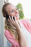 Pretty blonde making a call Stock Photo