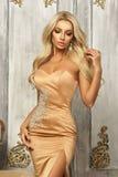 Pretty blonde in mermaid dress Stock Images