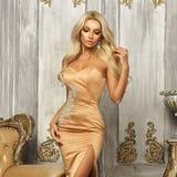 Pretty blonde in mermaid dress Stock Photo
