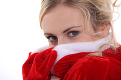 Pretty blonde mother Christmas Stock Photo