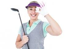 Pretty blonde playing golf Stock Photo